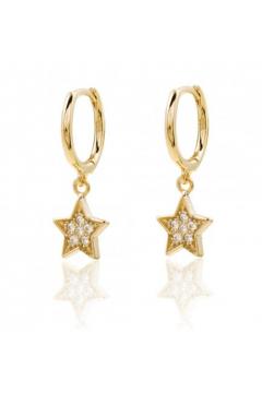 Pendientes Aro Estrellas Circonitas Dorado